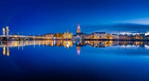 Фото Нидерланды Здания Ночные Залив Kampen blue hour