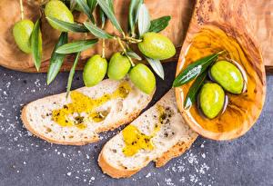Обои Оливки Хлеб Масла Листья Продукты питания