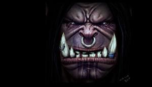 Картинка Орки Клыки Зубы Лица Grommash Hellscream 3D PAINTING! Фэнтези