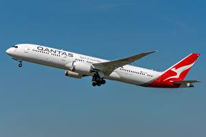 Картинка Пассажирские Самолеты Боинг Сбоку Qantas 787-9 Авиация