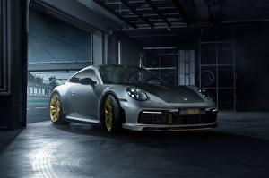 Картинка Porsche Серая 911 Carrera TechArt 992 2019