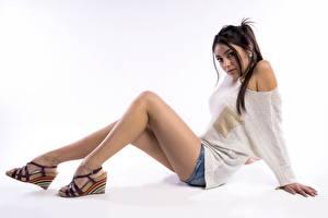 Фотография Позирует Сидя Ноги Красивый Свитер молодые женщины