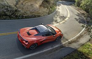 Обои для рабочего стола Дороги Шевроле Сверху Оранжевый Corvette Stingray 2020 C8 машина