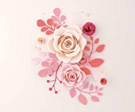 Картинка Розы Рисованные Ветвь Цветы