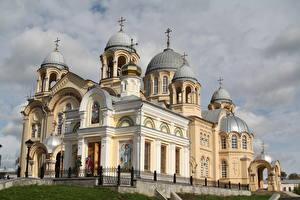 Обои Россия Монастырь Купола Крестов Holy Cross Cathedral of St. Nicholas Monastery in Verkhoturye Города