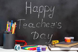 Картинка Школа Праздники Канцелярские товары Английский Карандаша Happy Teacher's Day