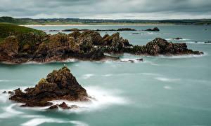 Картинки Шотландия Побережье Скале Залива Cruden Bay Aberdeenshire Природа