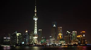 Фото Шанхай Китай Небоскребы Дома Башни Ночь Города