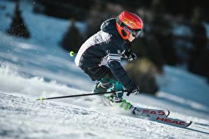 Картинки Лыжный спорт Зима Снег В шлеме Движение Мальчишка Куртка спортивная