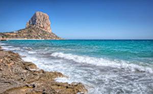 Фотография Испания Побережье Море Волны Скалы Calpe Природа
