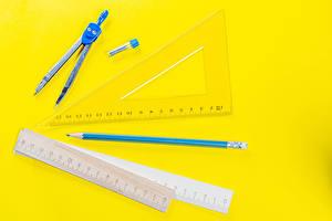 Обои для рабочего стола Канцелярские товары Цветной фон Карандаш Ruler, pair of compasses