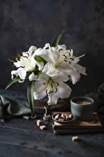 Обои Натюрморт Лилия Кофе Доски Белые Сахар Чашке Цветы Еда