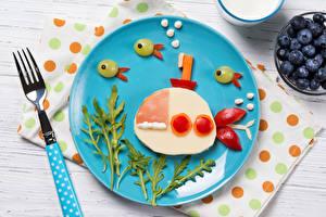 Фотографии Подводные лодки Креативные Вилки Тарелка Еда