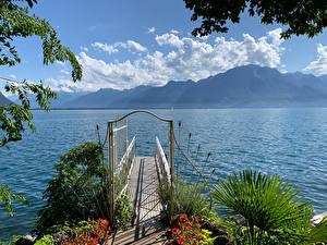 Фотография Швейцария Горы Озеро Причалы Montreux Природа