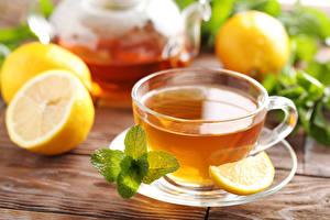 Обои Чай Лимоны Чашке Листья Мятой Блюдца Продукты питания