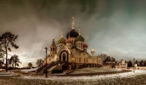 Фотографии Храм Россия Церковь Снег HDRI Church Of St. Igor Of Chernigov, Peredelkino город