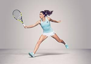 Обои для рабочего стола Теннис Ног Майки British WTA Johanna Konta спортивные Девушки