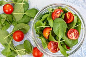 Картинка Помидоры Тарелке Миска Spinach Еда