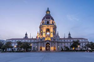 Фото Америка Здания Вечер Городской площади Уличные фонари Pasadena City Hall город