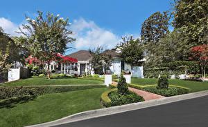 Обои США Здания Ландшафтный дизайн Газоне Деревья Laguna Beach