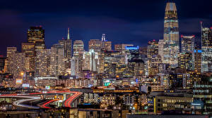 Фотографии США Дома Дороги Вечер Сан-Франциско Мегаполис Города
