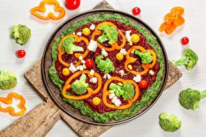 Фото Овощи Перец овощной Томаты Разделочной доске Кетчуп Продукты питания