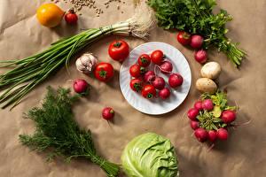 Картинка Овощи Редис Укроп Капуста Помидоры Картофель Тарелке Пища