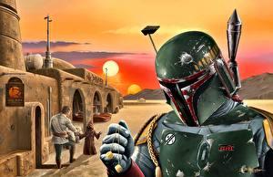 Картинки Воины Звездные войны В шлеме Fan ART Boba Fett Фантастика