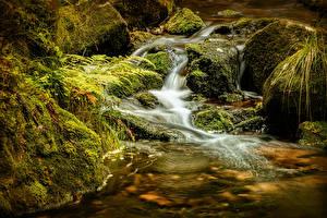 Обои для рабочего стола Водопады Камень Мха Harz Природа