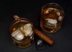 Картинки Виски Стакане Лед Сигары