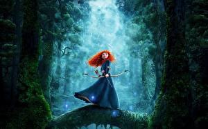Картинки Лучники Храбрая сердцем Рыжие Merida мультик Девушки