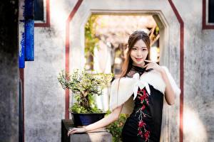 Фотография Азиатки Позирует Платье Рука Улыбка Смотрит Девушки