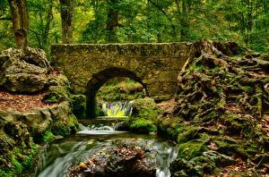 Фотографии Осень Мосты Камни Ручей Мхом HDR