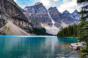 Картинка Канада Парки Гора Озеро Камни Банф Lake Moraine Природа