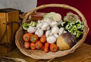 Фотография Морковь Свёкла Грибы Корзина Пища