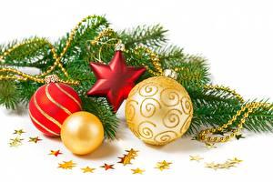 Картинка Рождество Шар Ветвь Звездочки