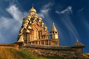 Фото Церковь Россия Из дерева Купол Музей Kizhi, Karelia город
