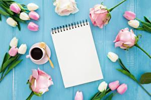 Картинка Кофе Роза Тюльпаны Чашке Блокнот Доски цветок