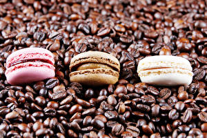 Фото Кофе Трое 3 Макарон Зерна Еда