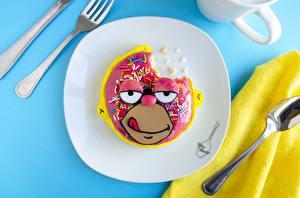 Обои Креативные Пончики Simpsons Вилки Ложка Тарелке Лица Homer Simpson