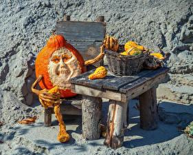 Картинка Креатив Хеллоуин Тыква Стола Корзины Старый мужчина Уродливые