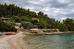 Фото Хорватия Берег Пирсы Песке Деревьев Korčula Природа