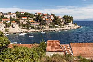 Картинки Хорватия Здания Пирсы Катера Заливы Крыше Prigradica город