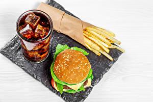 Фотографии Напиток Гамбургер Картофель фри Coca-Cola Быстрое питание Стакане Лед