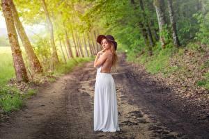 Обои для рабочего стола Лес Дороги Позирует Платья Шляпы девушка