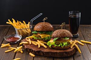 Картинки Картофель фри Гамбургер Быстрое питание Coca-Cola Стакане Еда