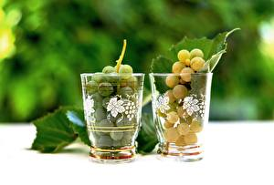 Обои Виноград Боке Стакан Листья Двое Еда