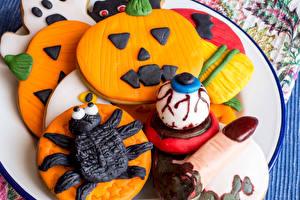 Картинки Хэллоуин Печенье Тыква Дизайна Пища