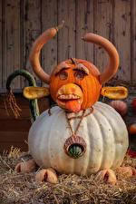 Фотография Хэллоуин Оригинальные Тыква Бык Дизайна С рогами Соломе