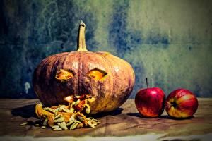 Фотографии Хеллоуин Тыква Яблоки